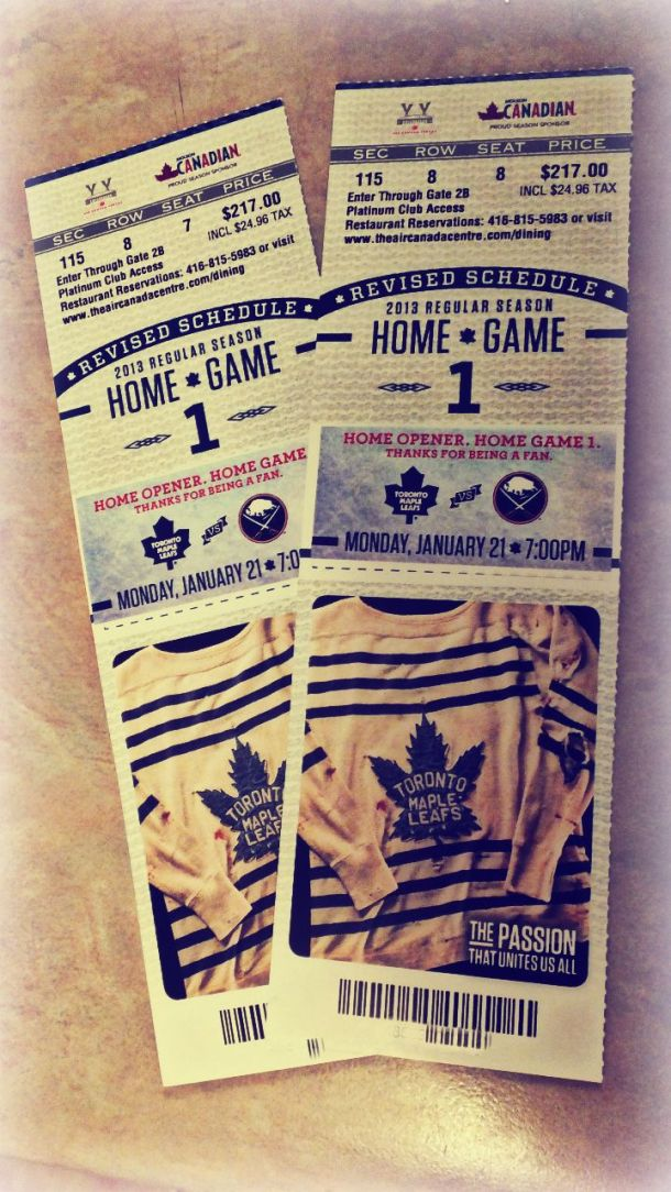 Tickets to the Leafs opening home game